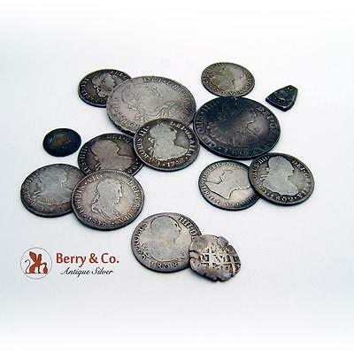 Assorted Antique Spanish Reals Coins Silver 14 Pieces 1775 1821