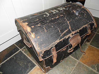 Antique Traveling Domed Trunk with original stickers GWR , leather straps, etc