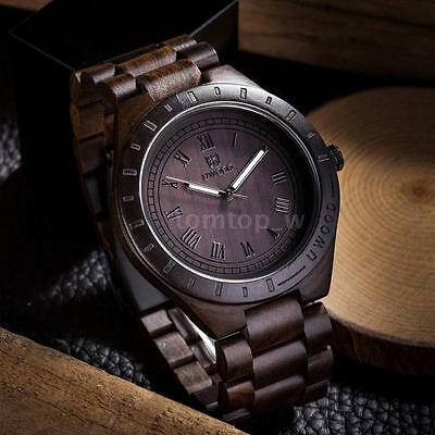 Uwood Men's Natural Wooden Watch Sandal Wood Quartz Wristwatch Casual Style O6H2