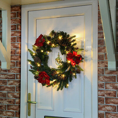 60Cm Indoor Battery Operated Pre Lit Christmas Garland Poinsettia Wreath Light