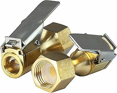 New Straight Brass Open Flow Straight Lock-On Air Chuck & Clip for Tire Inflator