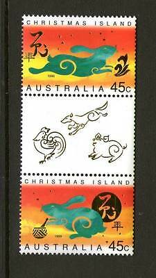 Christmas Island 1999 Year of the Rabbit Gutter pair MNH