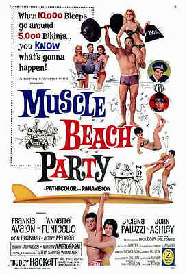 MUSCLE BEACH PARTY Movie POSTER 27x40 Frankie Avalon Annette Funicello Buddy