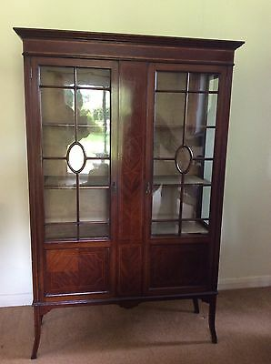 Beautiful Edwardian Antique Display Cabinet with inlaid veneered design.