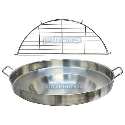 23'' Wide Stainless Steel Concave Comal Griddle Pan WITH RACK Cooking Grill