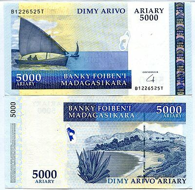 Madagascar 5000 5,000 Ariary Nd 2009 P 91 Xf/aunc