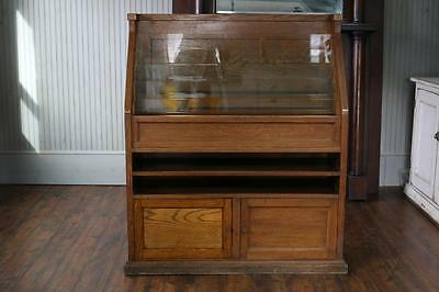 Antique Magazine Rack Beautiful Old Oak Vintage News Stand~General Store Cabinet