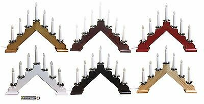 Wooden Candle Bridge Light 7 Bulb Window Christmas Decoration Arch Bridge Light