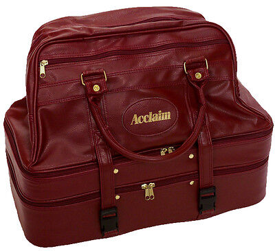 ACCLAIM Colwyn Burgundy Large Triple Decker 3 Section Bowling Bag Leather Look