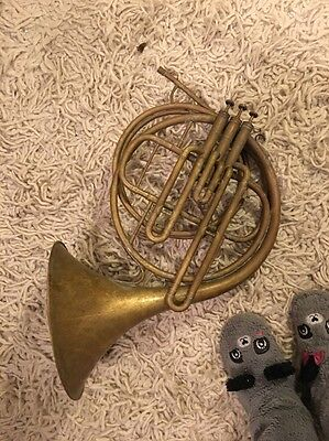 Vintage Valve French Horn With Extra Loops To Change The Pitch