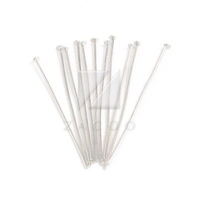 Silver Plated Head Pins 70mm Iron Jewellery Craft Findings DIY Approx 120