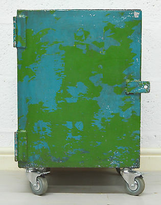 Retro Vintage Mid Century Industrial Blue and Green Industrial Metal Cabinet