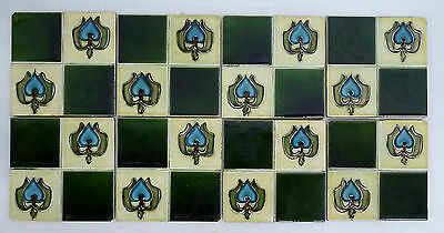 Antique English Art Nouveau 8-Tile Panel
