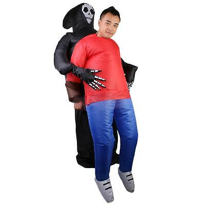 Adult Inflatable Ghost Skull Suit Halloween Party Fancy Dress Costume Outfit