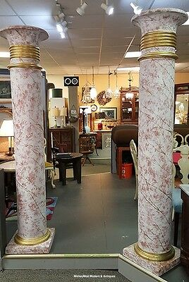 Stunning Pair Of Fiberglass Faux White & Pink Paint Gilted Columns 8 Feet Tall B