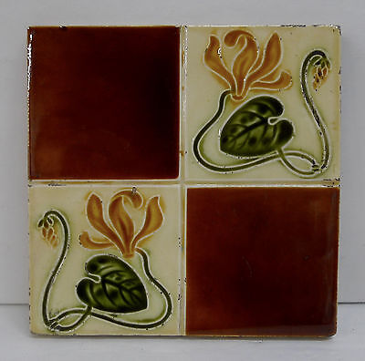 English Art Nouveau Antique Tile