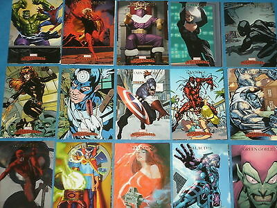 MARVEL MASTERPIECES 2007 Complete Base Set Of 90 All-Art Trading Cards Superhero