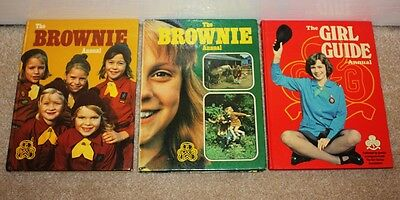 3 vintage 1970s Girl Guide & Brownie Annuals copyright dates 1975 1977 1978