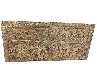 Antique Indian Hand Carved Panel Tribal Rustic Wood Wall Art Decorative