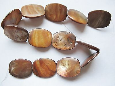 """Mother of pearl MOP shell brown flat rounded rectangle 30mm beads 15"""""""