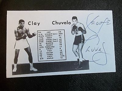 George Chuvalo vs. Cassius Clay Toronto 1966 Autographed 3x5 Index Card