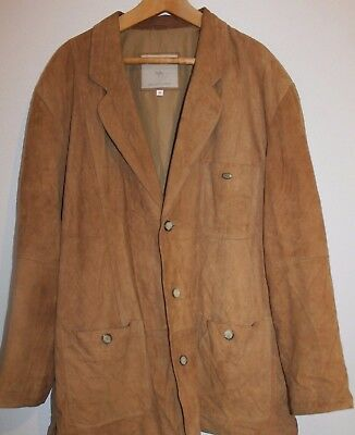 VTG Mens CAMEL Shop Aventura Jacket Brown Leather Safari Size XL