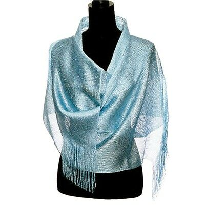 "Ladies Islamic Muslim scarves Sky Blue Metallic 82""x 19"""