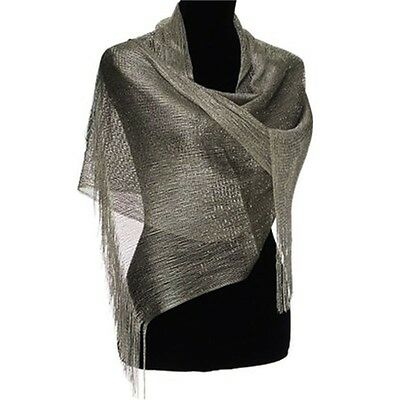 "Ladies Islamic Muslim scarves Dark Grey Metallic 82""x 19"""
