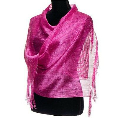 "Ladies Islamic Muslim scarves Hot Pink Metallic 82""x 19"""
