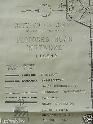 Vintage Calgary Street Map City Proposed Roadways 1959 Parks Airport Alberta YYC