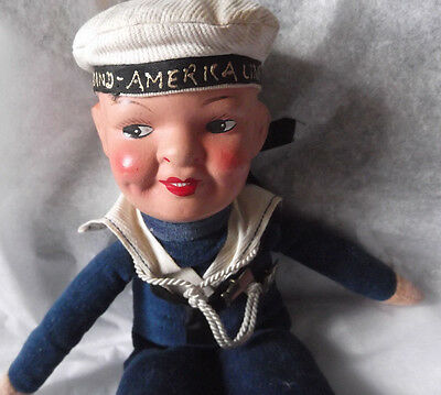 """Vintage 1930's Holland American Line 10"""" Cloth and Compo Sailor Doll"""