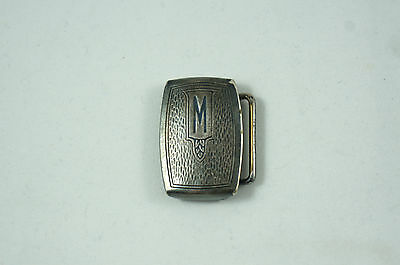 """Vintage Art Deco Hickok Silver Plate Belt Buckle with Initial """"M"""", thin"""