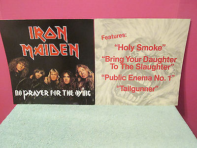 2 IRON MAIDEN No Prayer for the Dying PROMO FLAT Poster 2-sided 12 x 12 rare