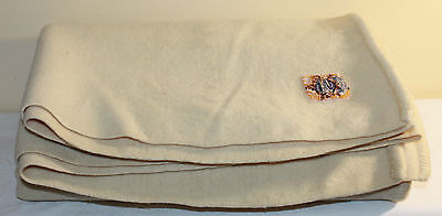 "Vintage Ayers Pure Wool Blanket - Made In Canada - Beige - 58 1/2"" X 55"""
