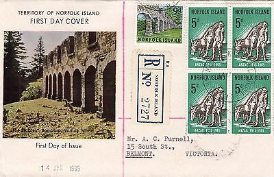 Stamp Norfolk Island 5d ANZAC 50th anniversary block 4 official FDC registered