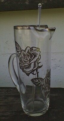 Dorothy Thorpe Style Etched Glass Martini Pitcher Silver Band & Glass Stirrer