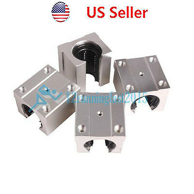 4pcs SBR16UU 20mm Aluminum Open Linear Router Motion Bearing Solide Block Shaft