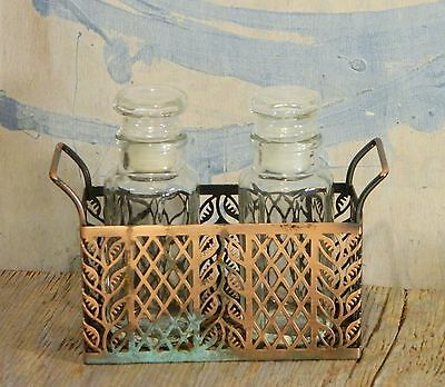 Vtg/Metal/Copper Tone/Display Box/Caddy/Bin/2-Glass Spice Jars/Cottage/BoHo Chic