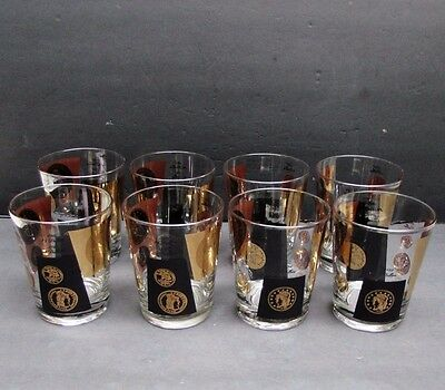 Set of 8 Mid Century Modern Coin Dollar Large Cocktail Rocks Glasses 15 Ounce