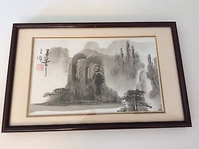 Chinese Fingerprint Painting Waterfall Landscape Scene Ink On Paper