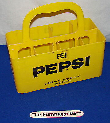 vintage PEPSI COLA 8 pak Plastic CARRIER with HANDLE --- Yellow --- #1