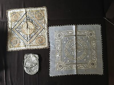 Antique Middle East Islamic Silk Shawl Lot of Three
