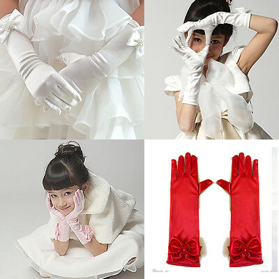 Warm Stretch Satin Gloves Bowknot Long Gloves Party Weeding Kids Flower Girl New