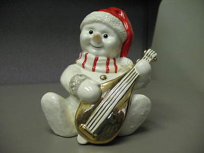 Mikasa Holiday Excellence Snowman & Gold Mandolin Fine Porcelain Figurine Sweet!