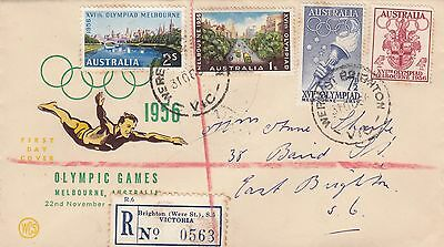 Stamps 1956 Australia Olympic Games set 4 WCS cachet FDC registered Were Street