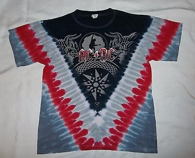 AC/DC Black Ice 2008-09 Tour Tye Dye T-Shirt Mens Size Medium