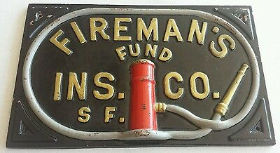 FIREMAN'S FUND: Authentic Fire Insurance Company Cast Metal MARK/ SIGN/ PLAQUE