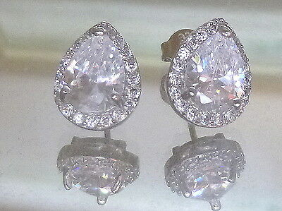 Authentic 18 kt white gold pear cut Diamond Stud  Earrings 2 CT ~ A+A+++