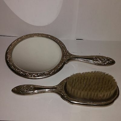 Antique Silver Backed Hand Mirror and Hairbrush Brush Set Art Nouveau vintage