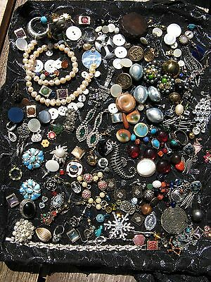 Vintage Junk Lot~1.5 lbs Beads~Jewelry Bits~Buttons~Altered ART~Repurpose~Crafts